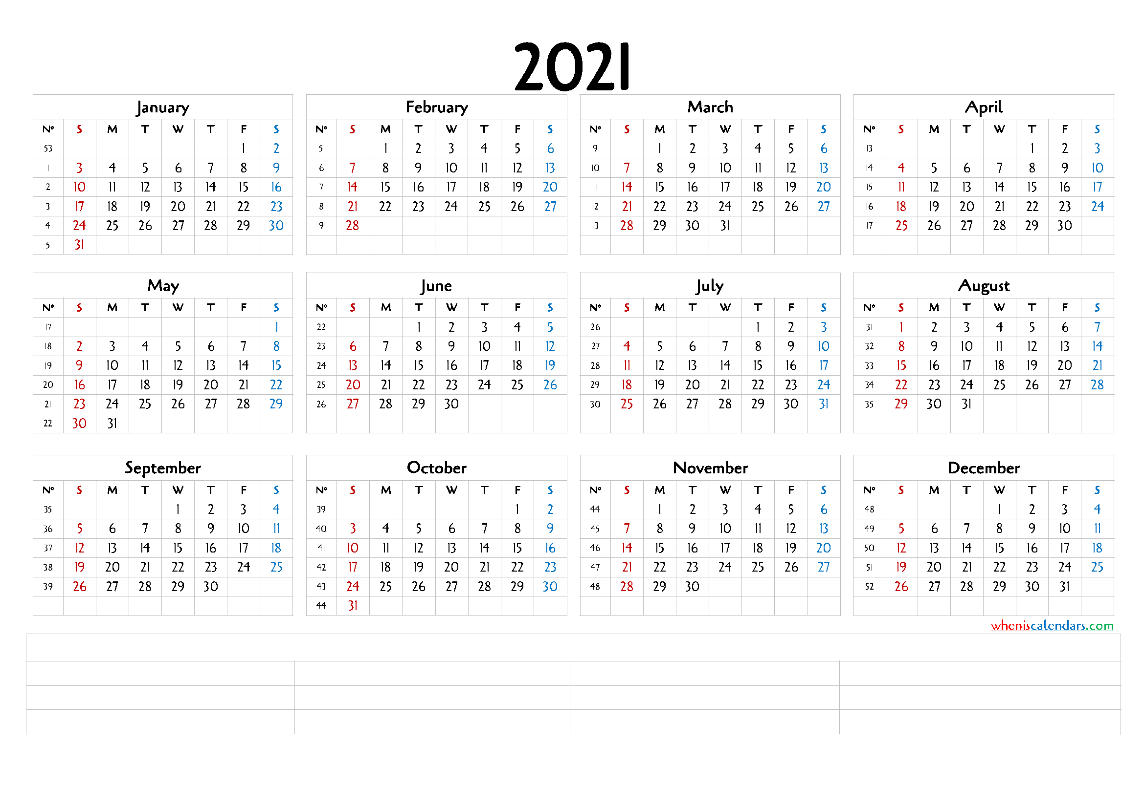 12 Month Calendar Printable 2021 (6 Templates) – Free