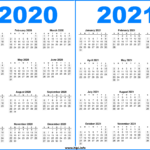 2 Year Printable Calendar 2020 And 2021 - Hipi