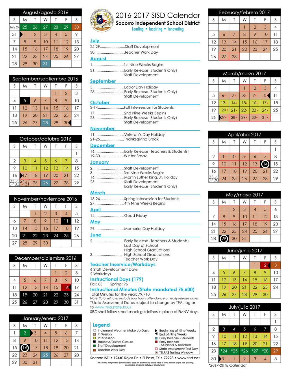 2016-17 And 2017-18 Sisd Student Calendar Approved