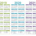 2019 To 2021 3 Year Calendar Printable Free Pdf, Word, Image