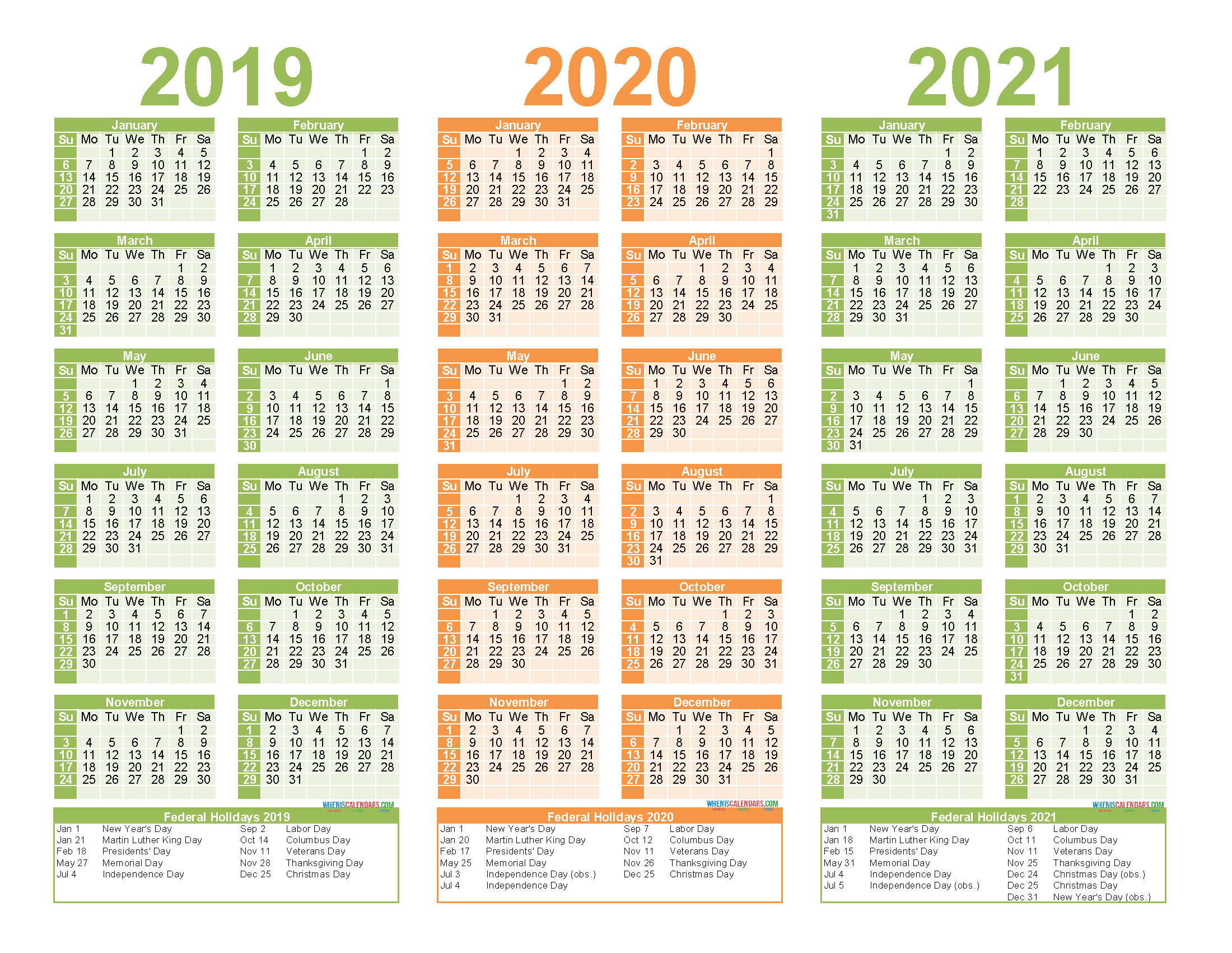 2019 To 2021 Calendar Printable Free Pdf, Word, Image – Free