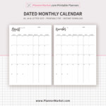 2020-2021 Monthly Calendar, Monthly Planner, Printable