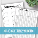 2020 + 2021 Monthly Printable Calendar + Habit Tracker Kit