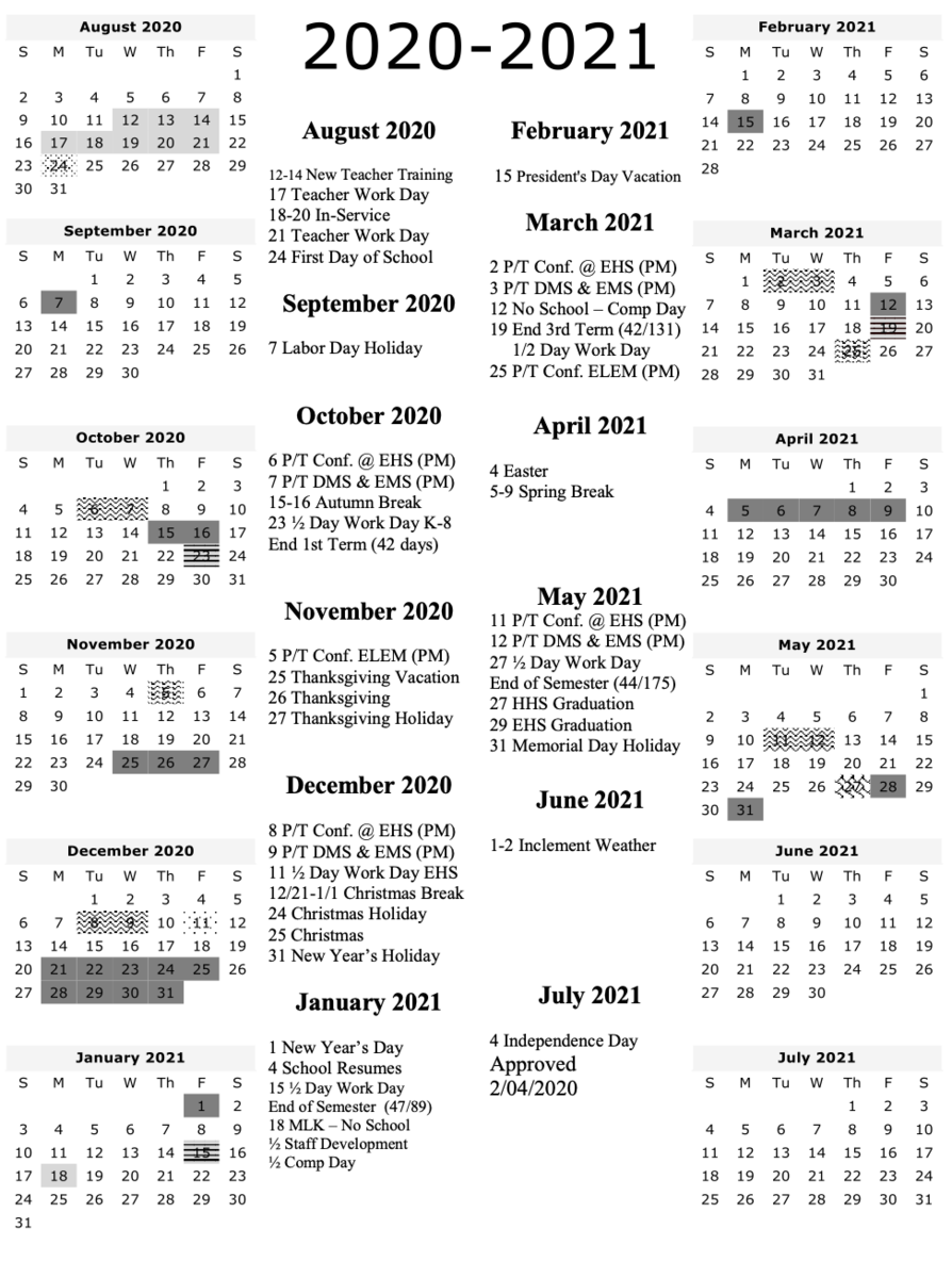 2020-2021 School Calendar – Human Resources – Uinta County