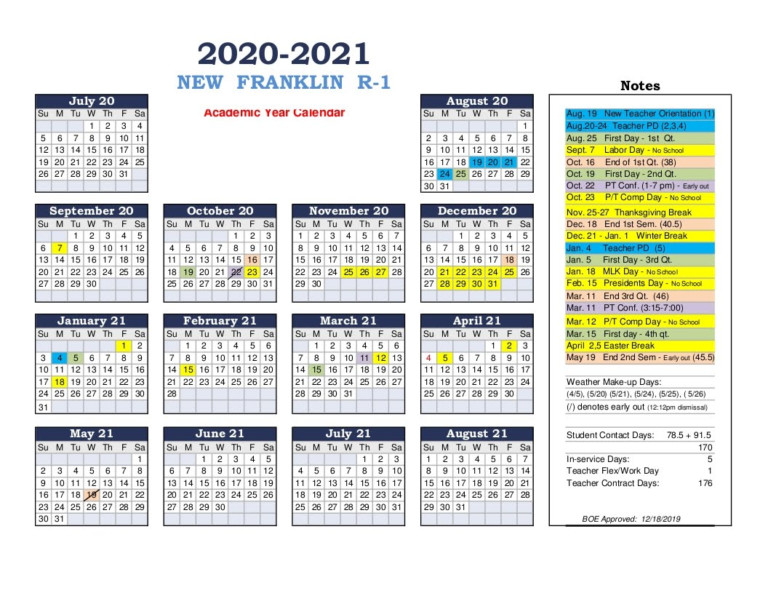 2020-2021 School Calendar - New Franklin R-1 Schools