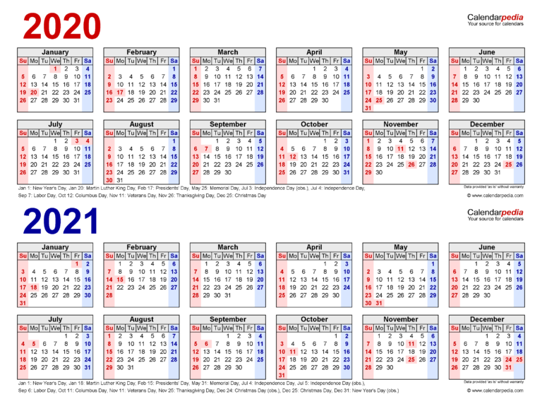 2020-2021 Two Year Calendar - Free Printable Word Templates