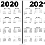 2020 - 2021 Two Year Calendars Black And White - Hipi
