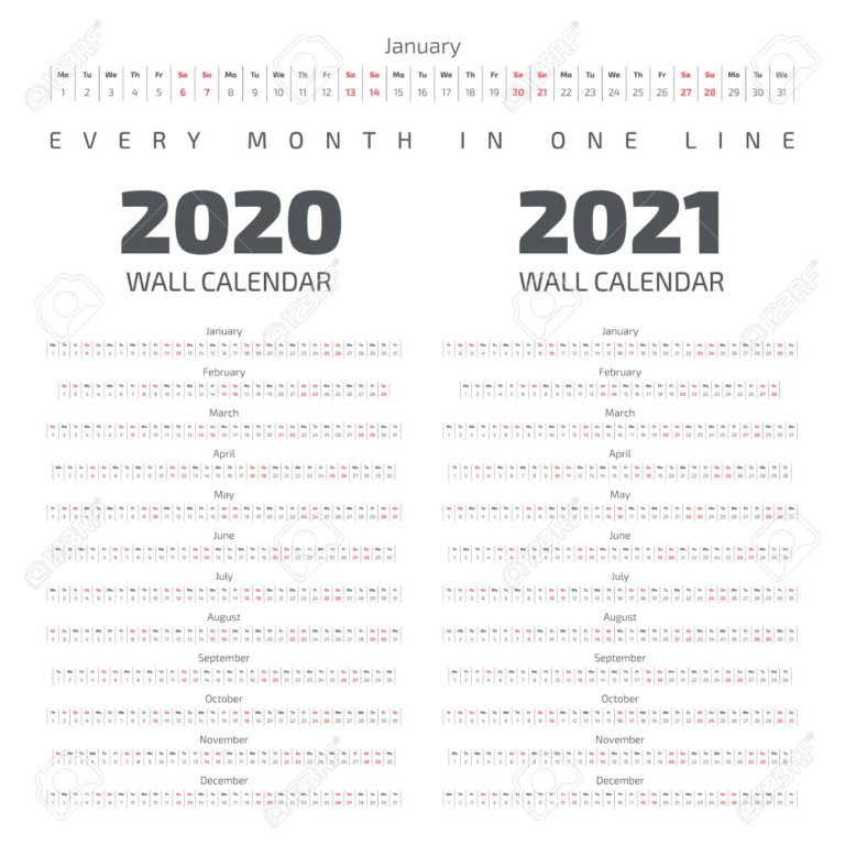 2020-2021 Wall Calendar. Every Month In One Line