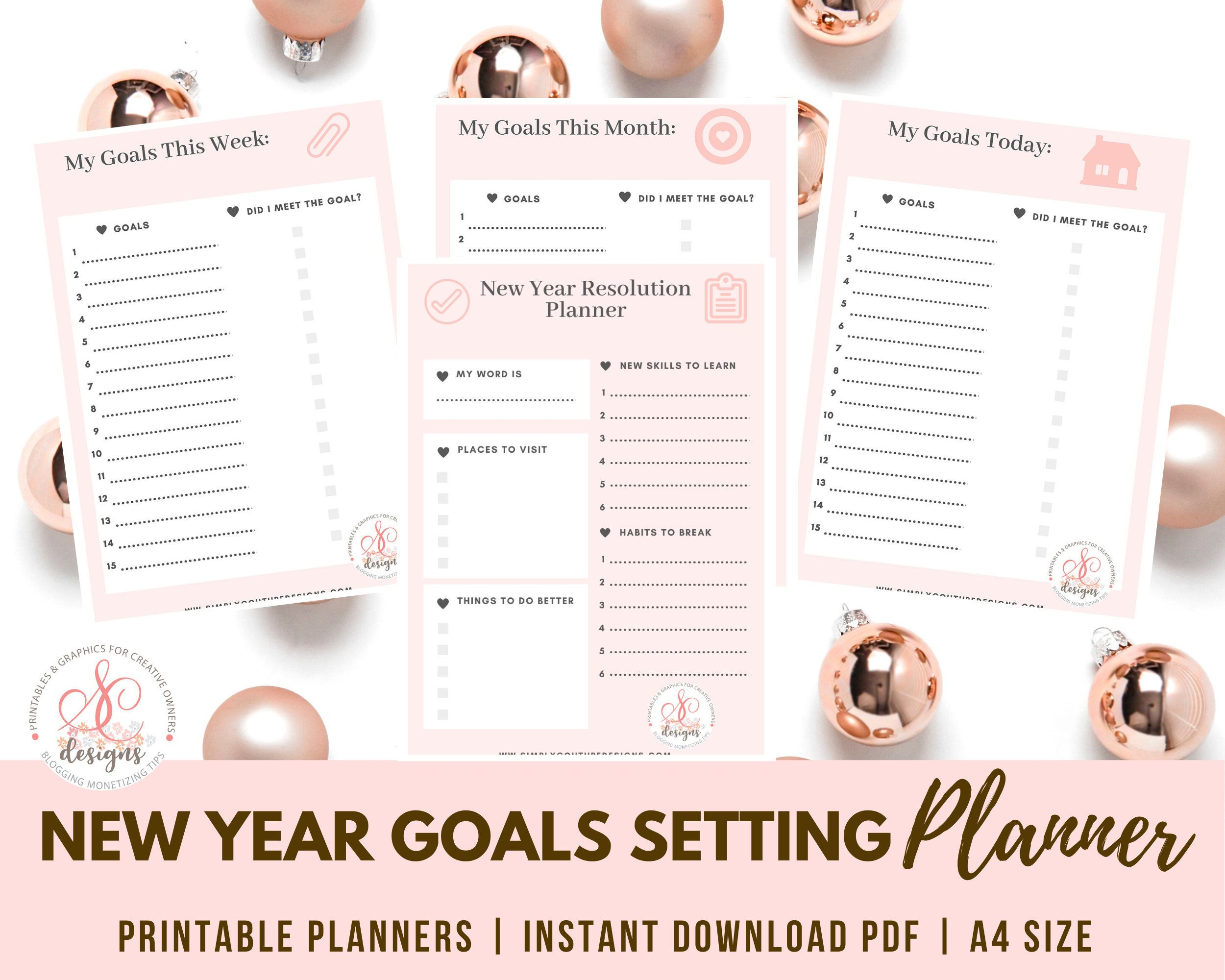 2020 2021 Yearly Goal Planner Printable Calendar Planner