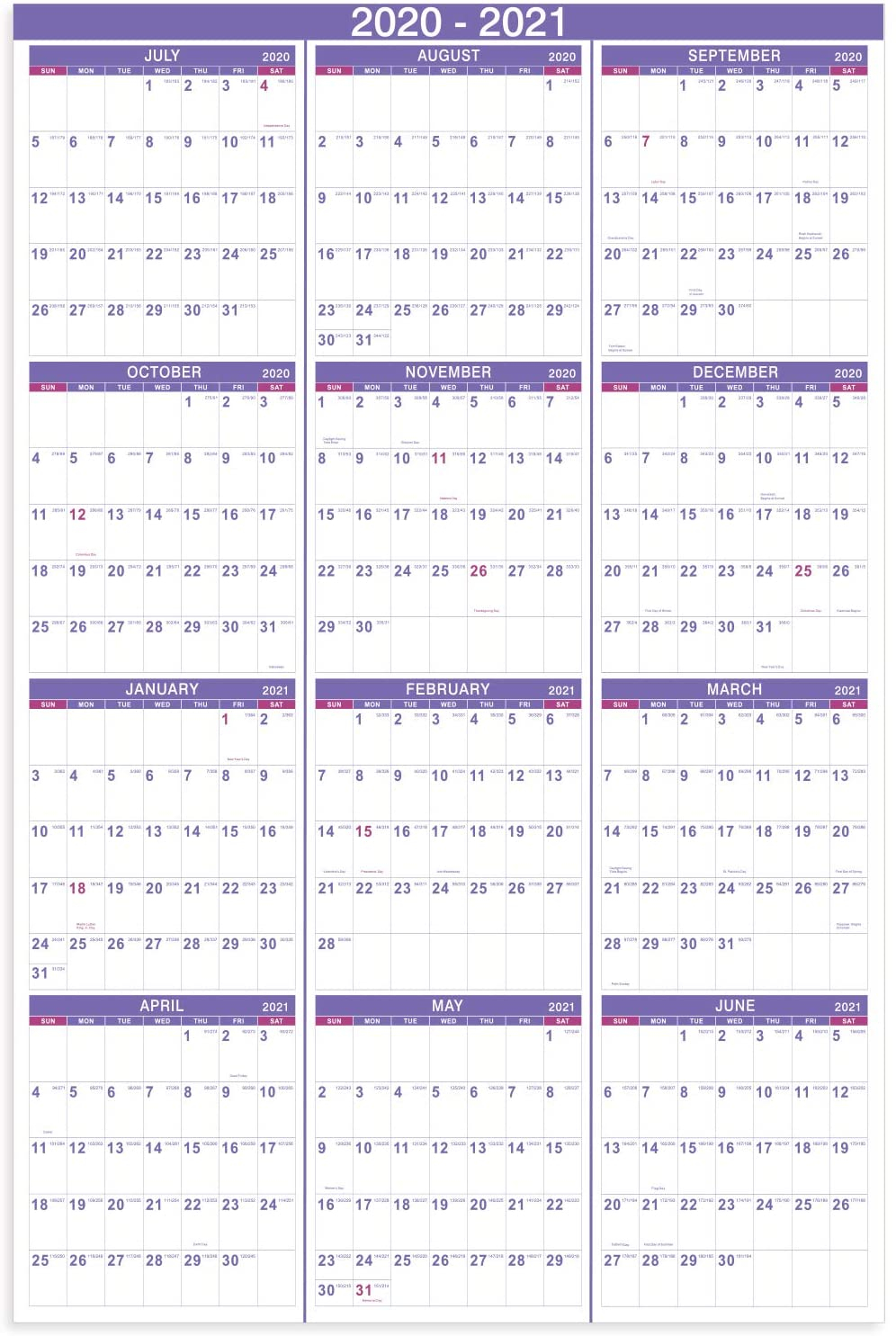2020-2021 Yearly Wall Calendar - 2020-2021 Academic Yearly