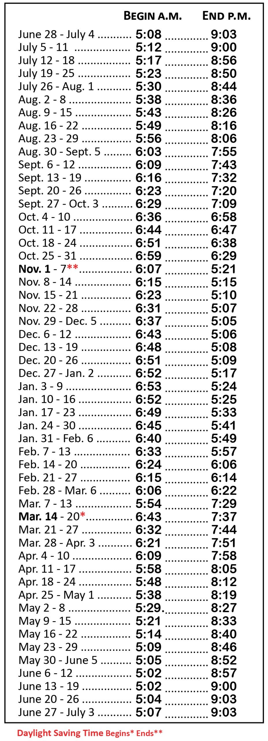 2020-21 Hunting Hours Table