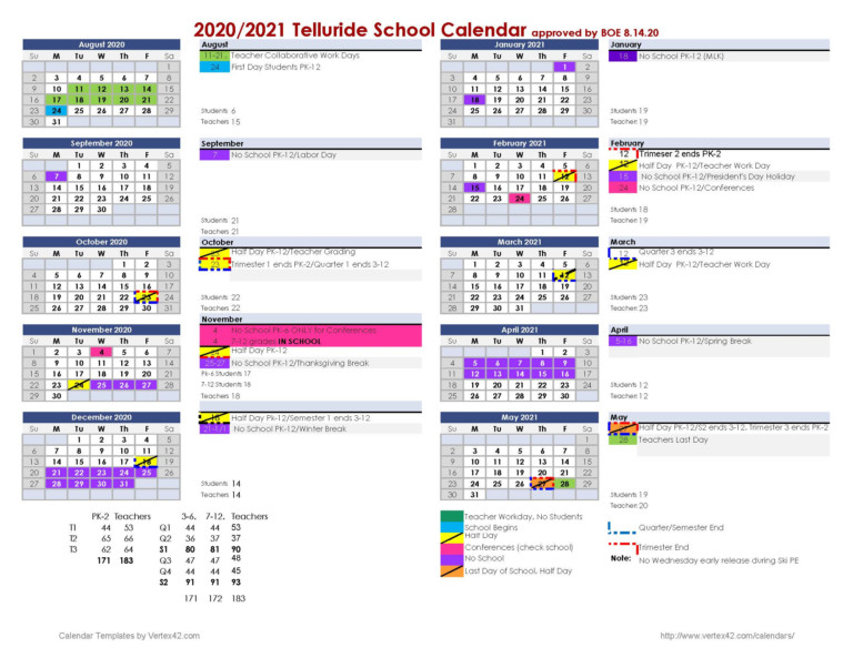2020-21 School Calendar - Telluride School District R-1