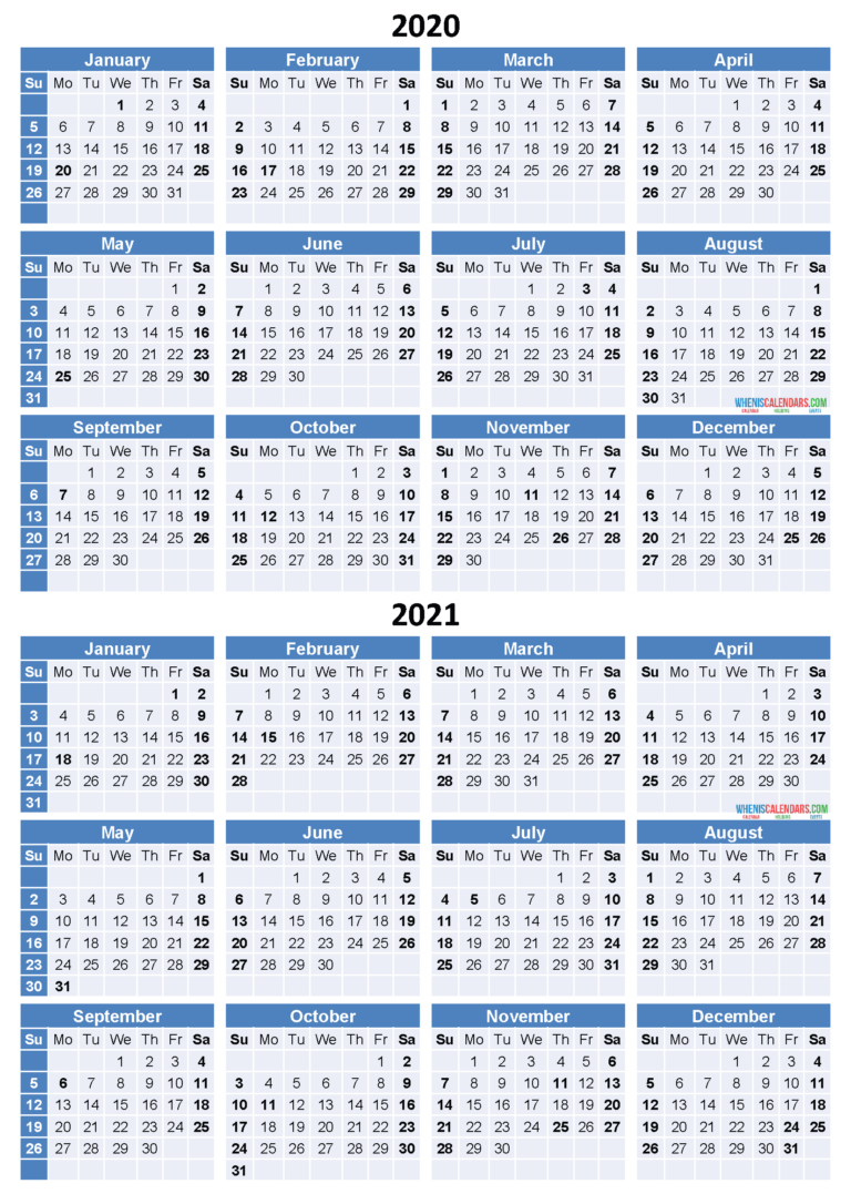 2020 And 2021 Calendar Printable Free Download Word, Pdf