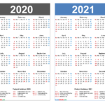 2020 And 2021 Calendar Printable Word, Pdf – Free Printable