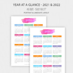 2021 - 2022 Year At A Glance In A5 Size