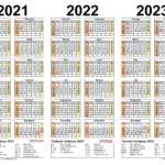 2021-2023 Three Year Calendar - Free Printable Word Templates