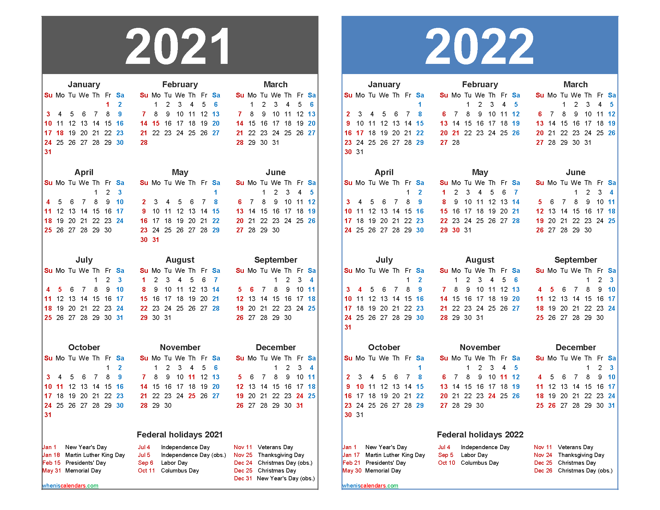 2021 And 2022 Calendar Printable With Holidays – Free