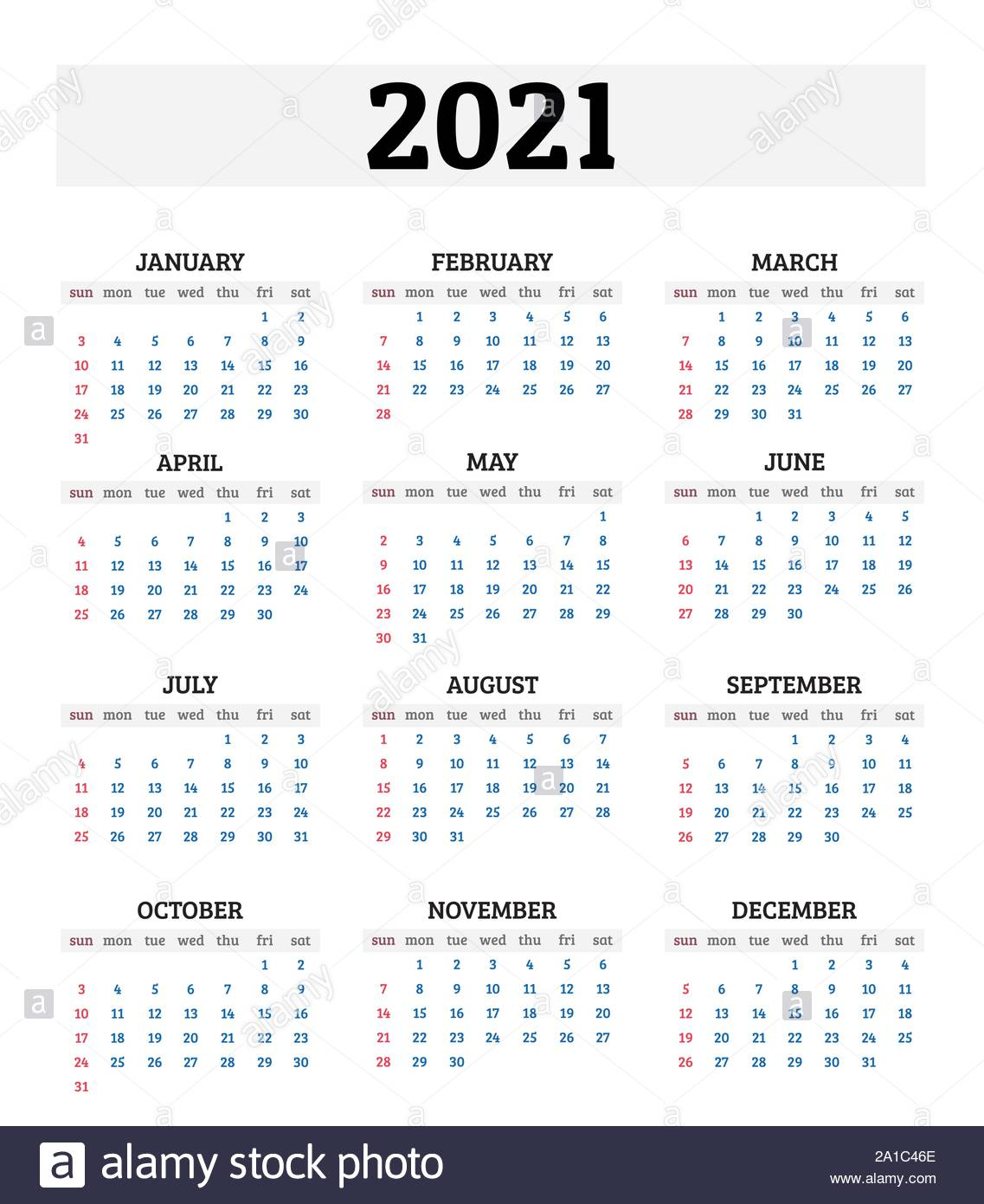 2021 Annual Calendar. Vector Illustration Stock Vector Image