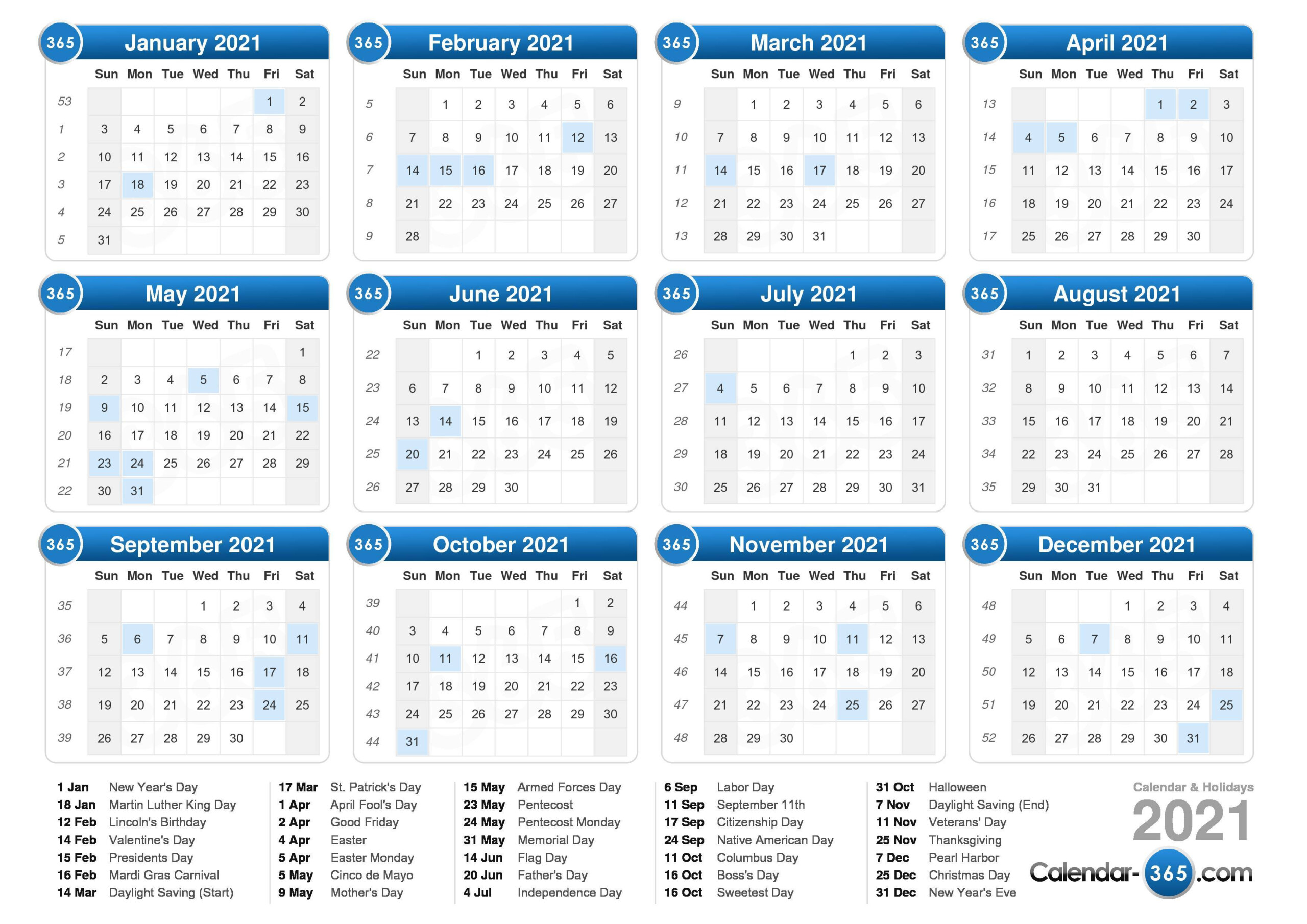 Free Printable 2021 Calendar With Holidays And Moon Phases ...