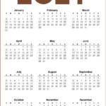 2021 Calendar One Page Printable – Noolyo