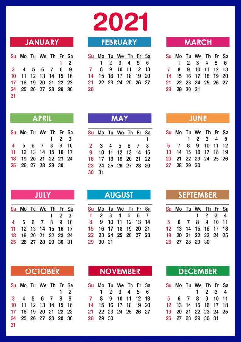 2021 Calendar Printable | 12 Months All In One | Calendar 2021