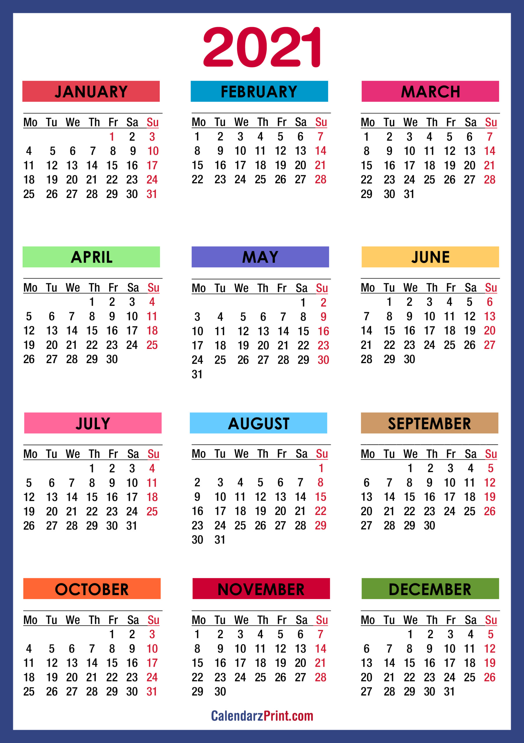 2021 Calendar Printable Free, Colorful, Blue, Green – Monday