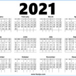 2021 Calendar Printable Free One Page – Noolyo