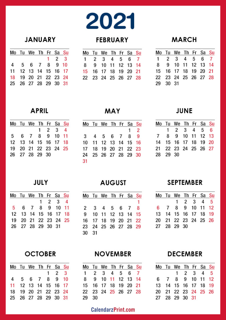 2021 Calendar Printable Free With Usa Holidays, Red – Monday