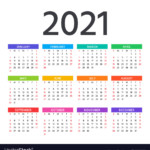 2021 Calendar Template Year Planner Royalty Free Vector
