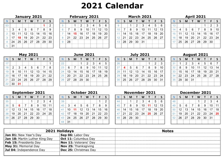 2021 Calendar With Holidays | Calendar Template, Free