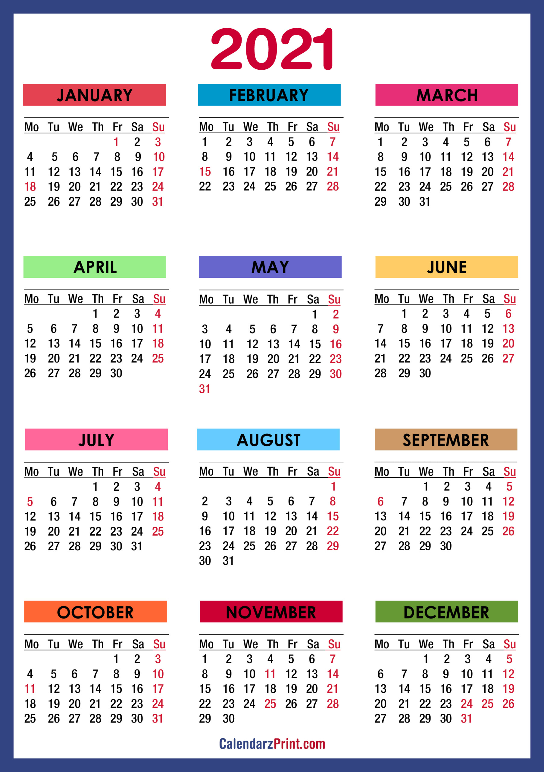 2021 Calendar With Holidays, Printable Free, Colorful, Blue