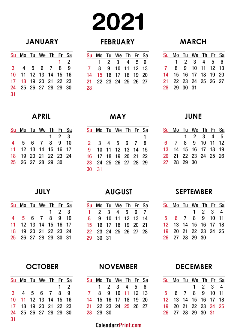 2021 Calendar With Us Holidays, Pdf – Printable, White, Ss
