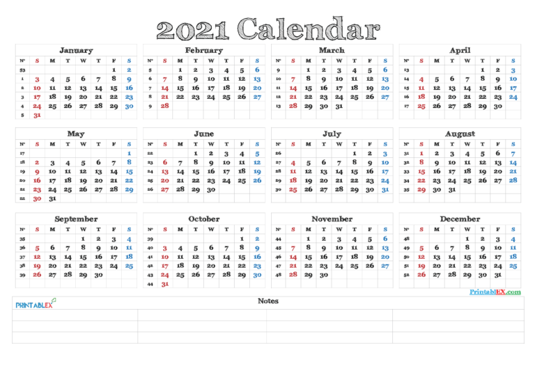 2021 Calendar With Week Numbers Printable – Free Printable 2020