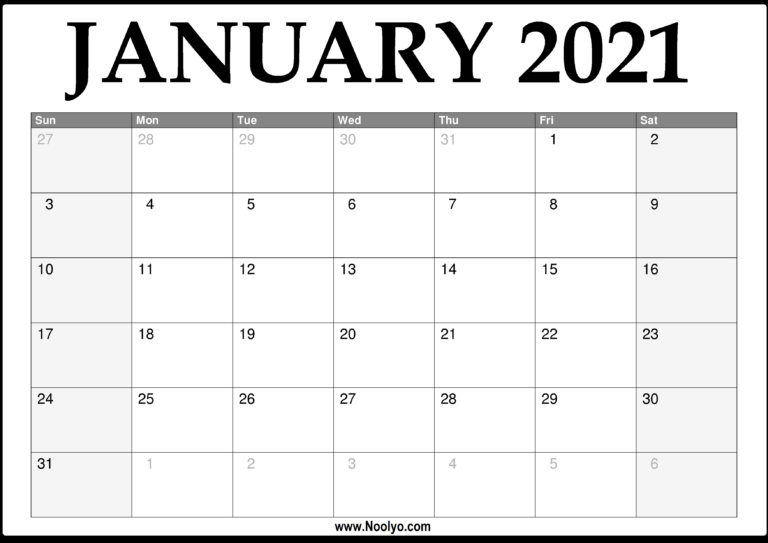 2021 January Calendar Printable – Download Free – Noolyo