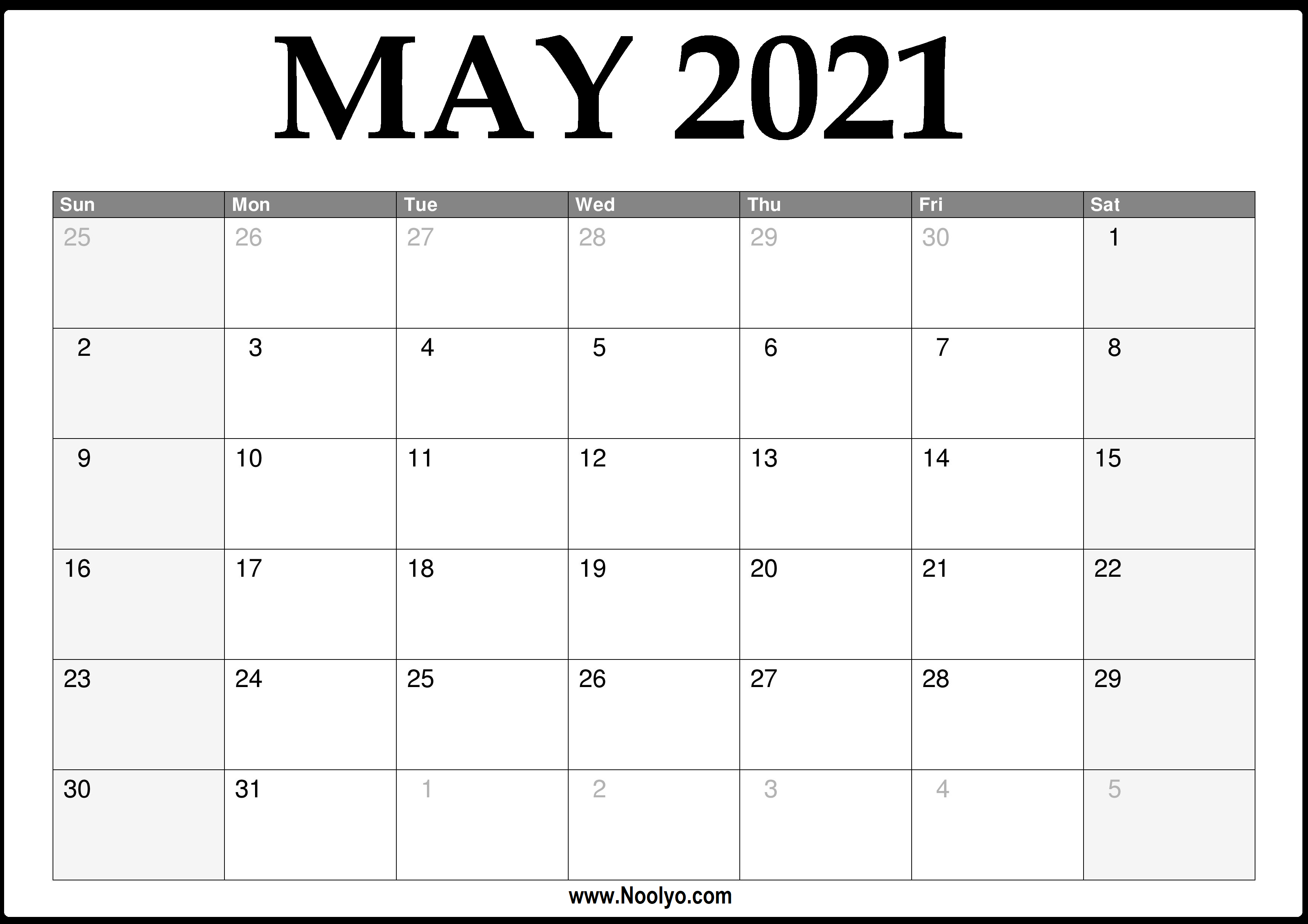 2021 May Calendar Printable – Download Free – Noolyo