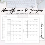 2021 Month On Two Pages Calendar {Printable Pdf}