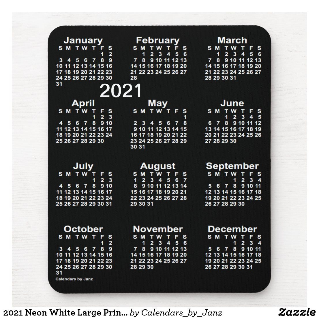 2021 Neon White Large Print Calendarjanz Mouse Pad