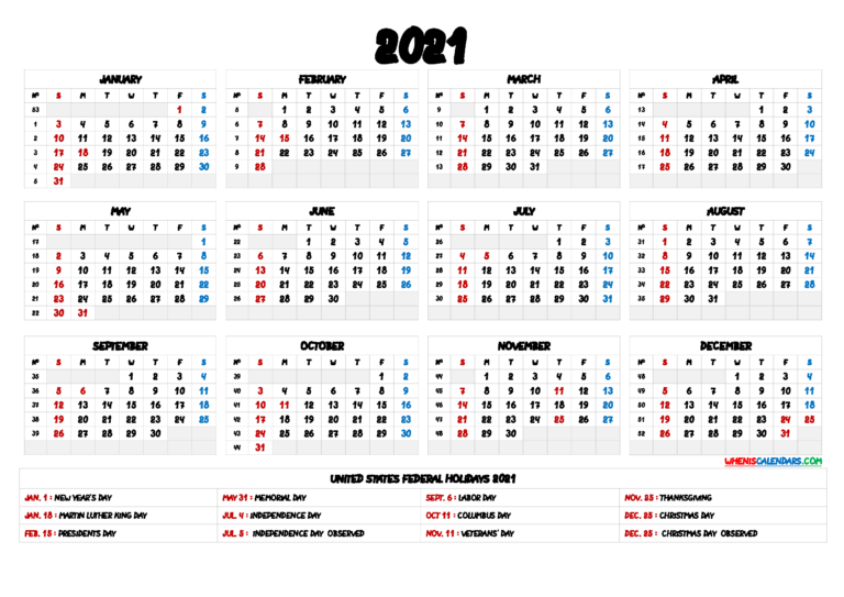 2021 One Page Calendar Printable – 9 Templates – Free