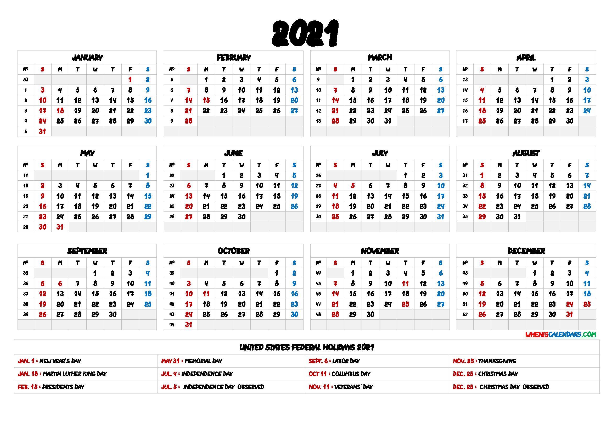 2021 One Page Calendar Printable With Holidays | Free 2021 ...