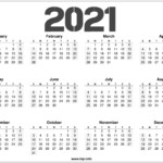 2021 Printable 12 Month Calendar Templates - Hipi