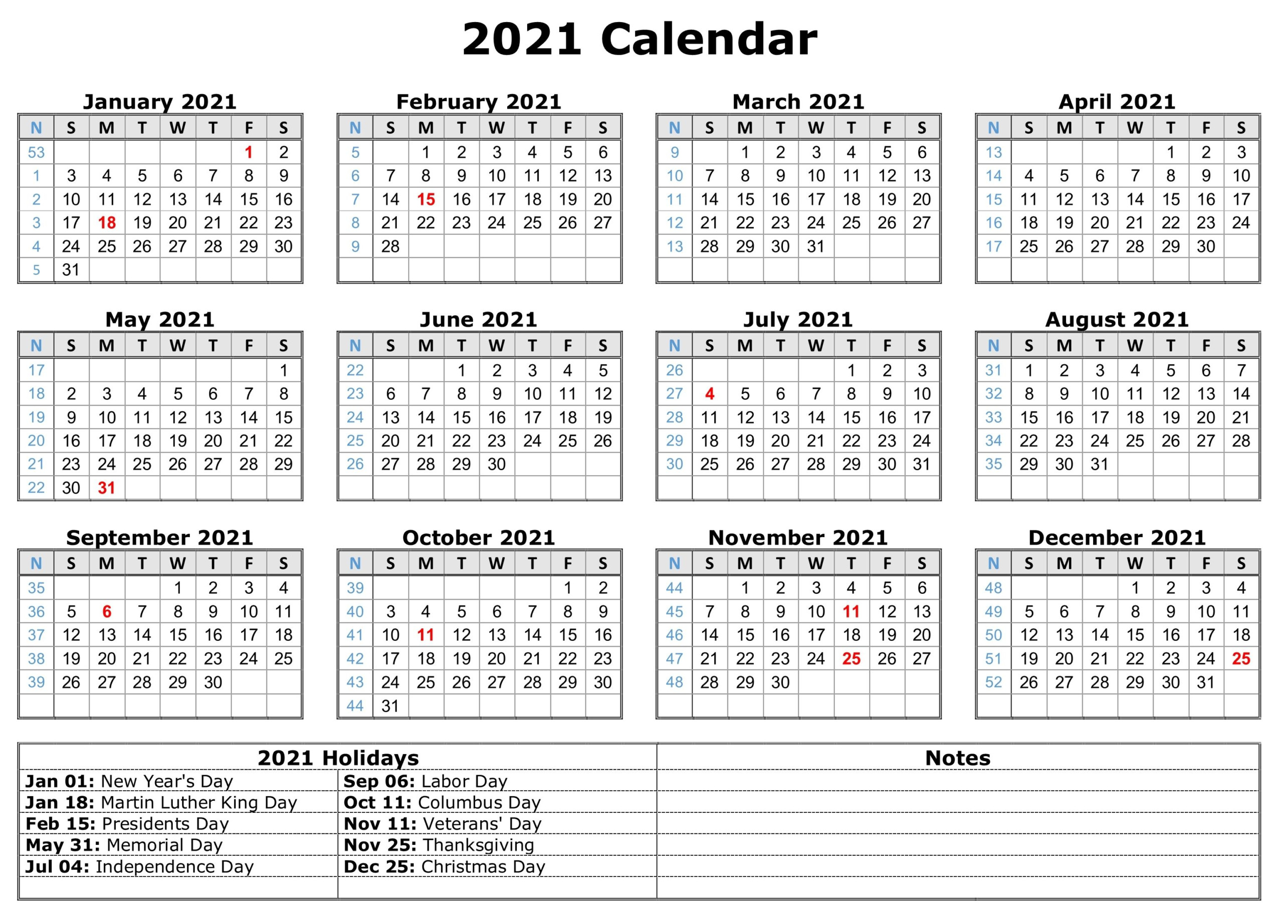 2021 Printable Calendar With Holidays | Calendar Template