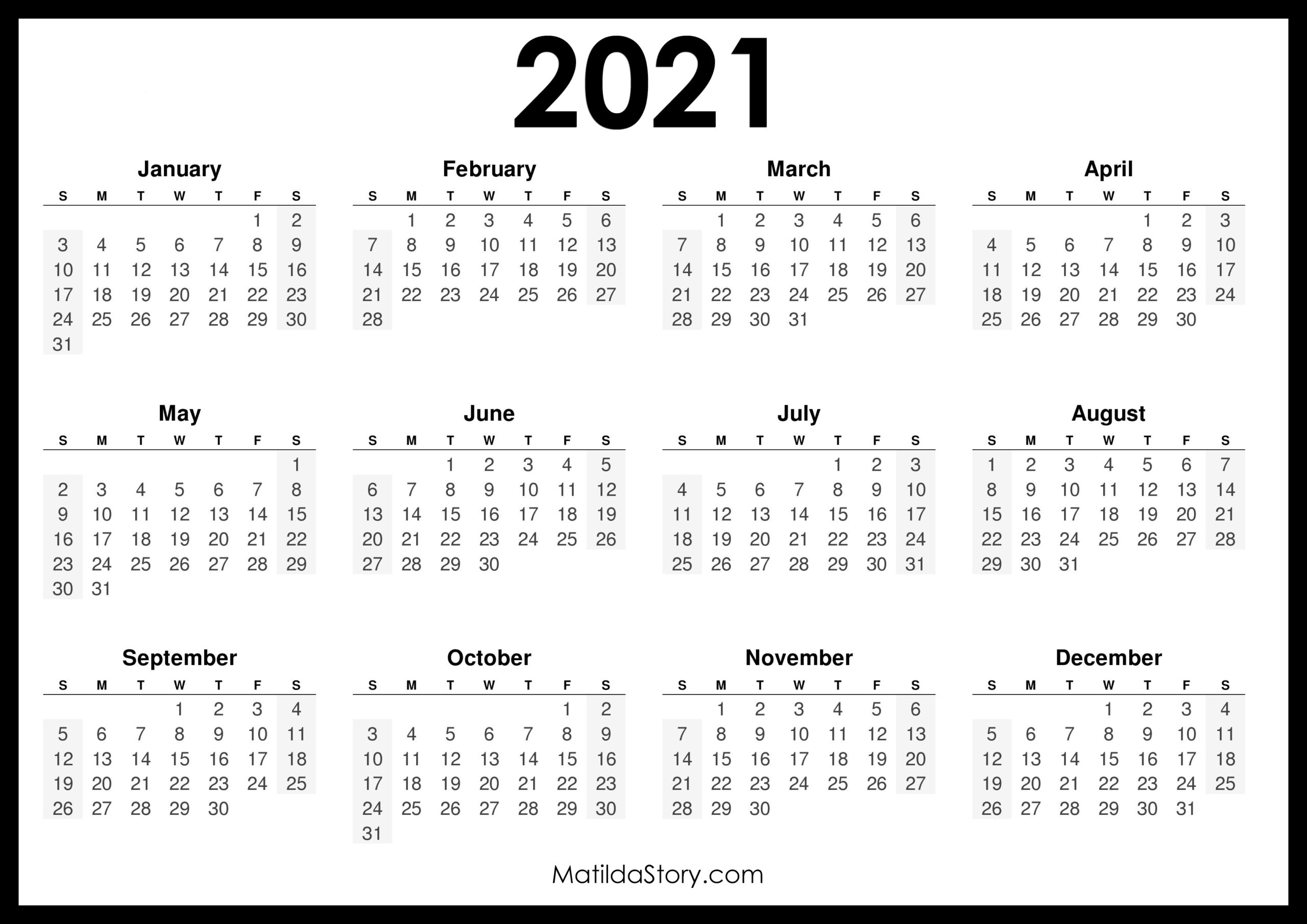 2021 Printable Free Calendar, Horizontal, Black – Sunday