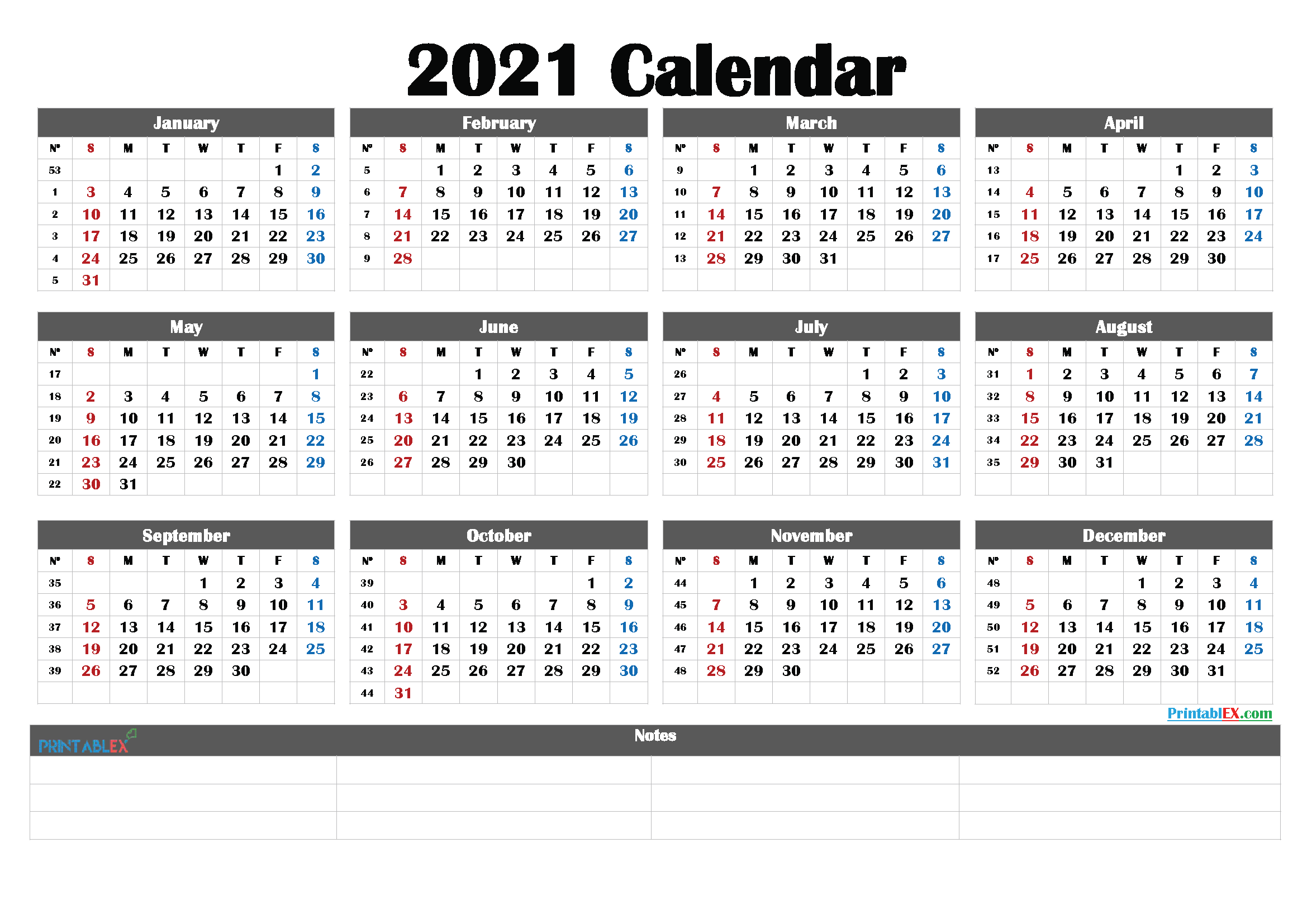 2021 Printable Yearly Calendar With Week Numbers – Free