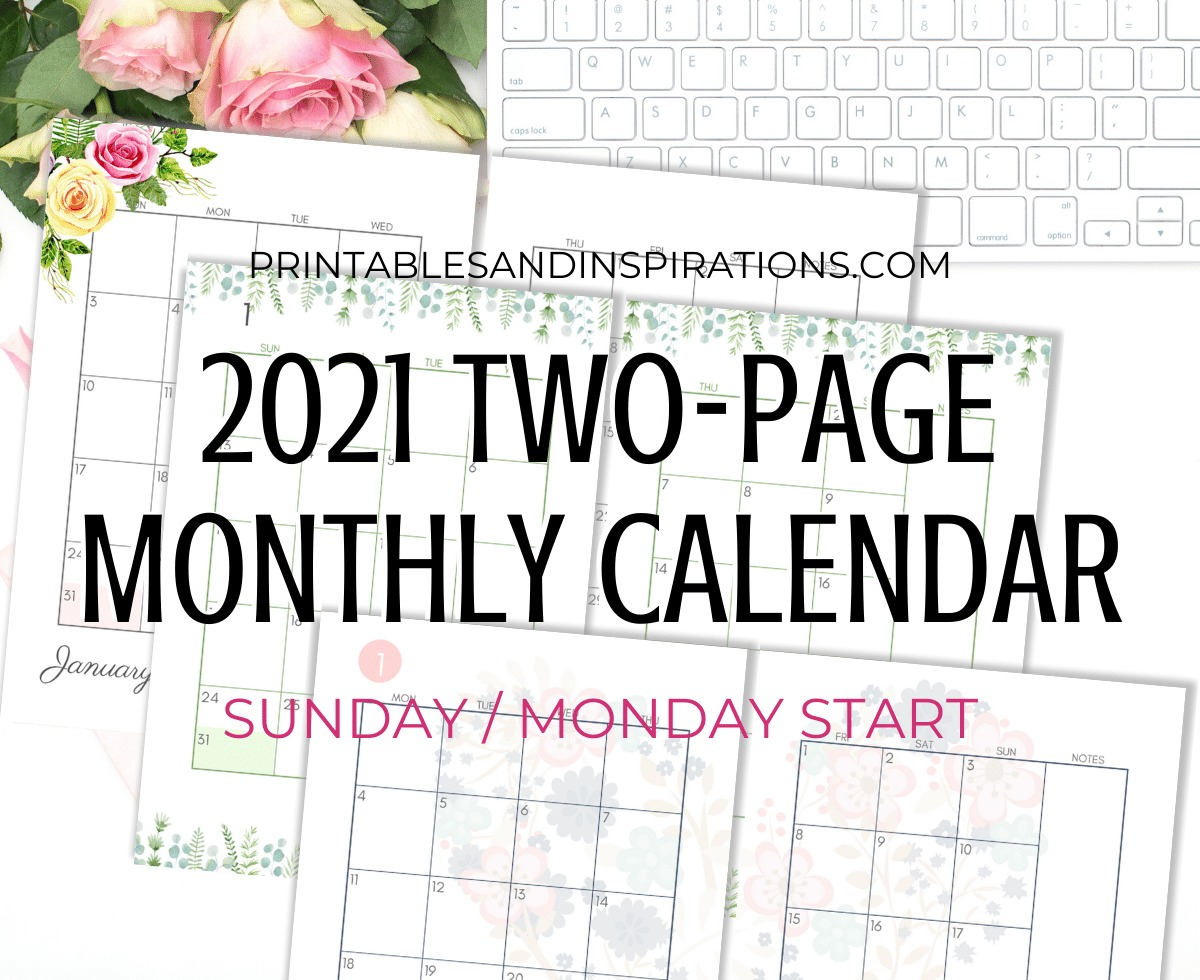 2021 Two Page Monthly Calendar Template - Free Printable