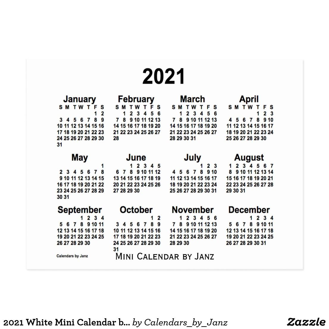 2021 White Mini Calendarjanz Postcard | Zazzle