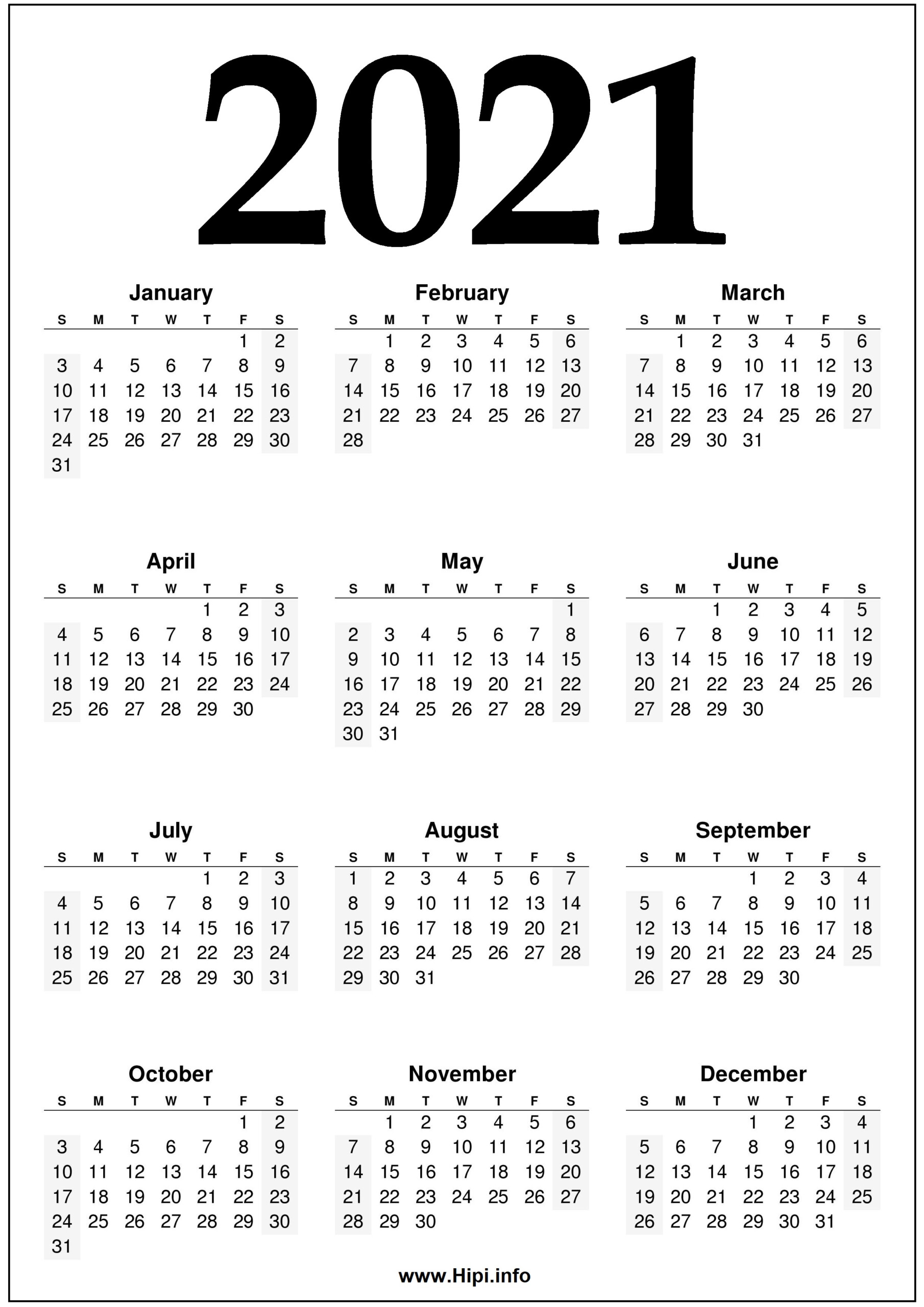 2021 Year 2021 Calendar Printable - Black And White - Hipi