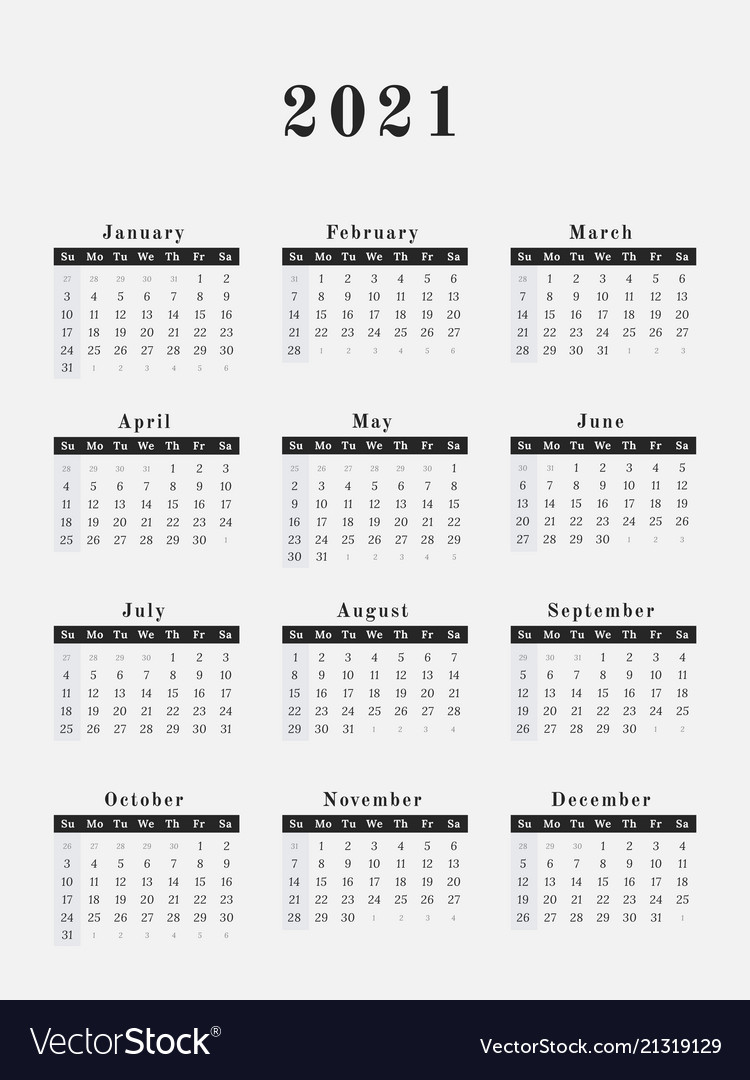 2021 Year Calendar Vertical Design Royalty Free Vector Image