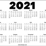 2021 Year Printable Calendar Red, Black And White – Noolyo