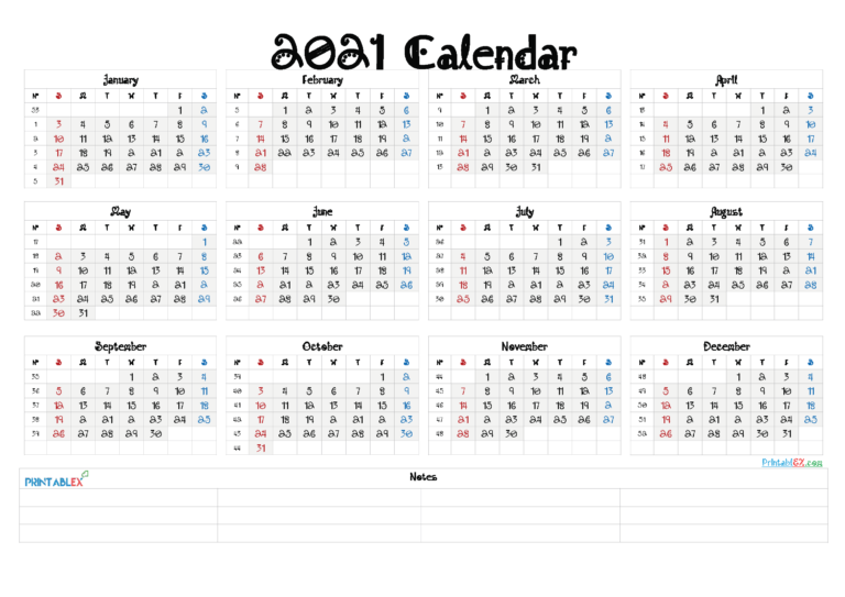 2021 Yearly Calendar Template Word – Free Printable 2020