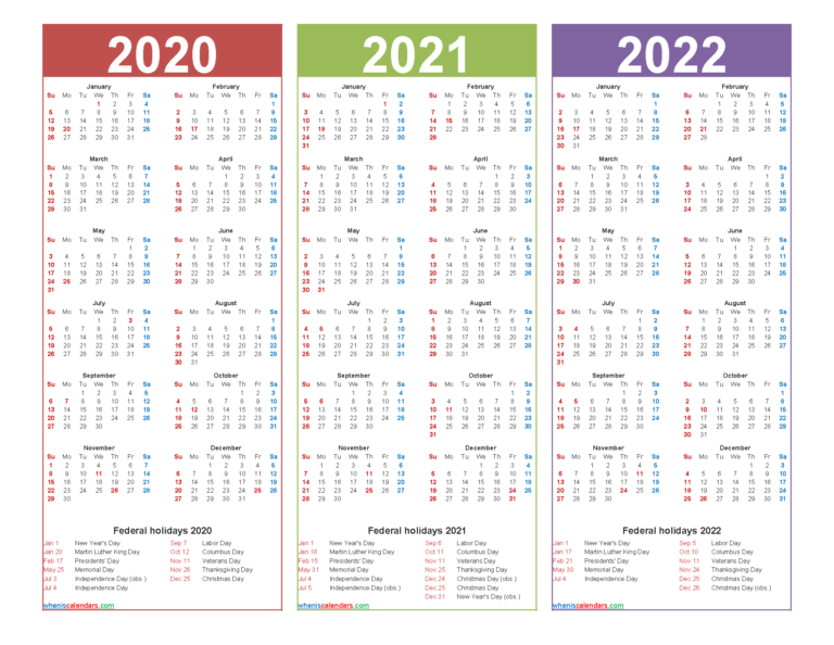 3 Year Calendar 2020 To 2022 Calendar With Holidays